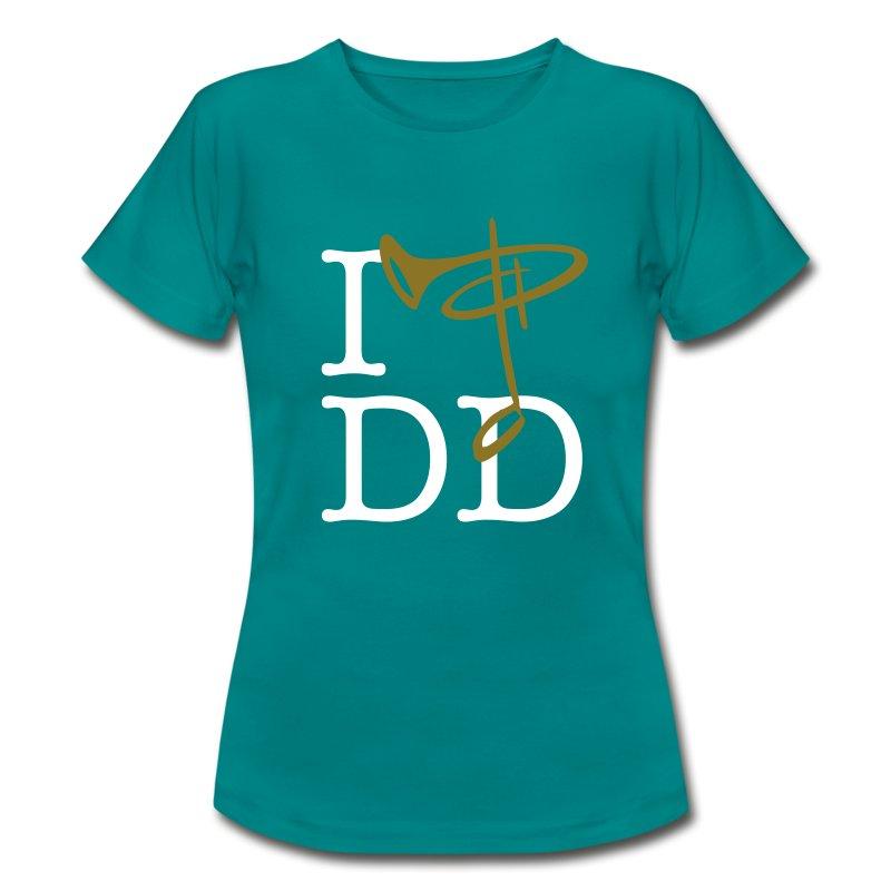Günstiges T-Shirt Damen, Folien-Text gold/weiß - Frauen T-Shirt
