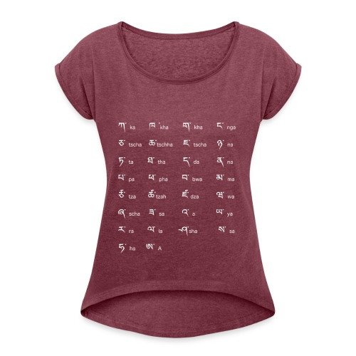 Tibetisches Alphabet - Frauen T-Shirt mit gerollten Ärmeln