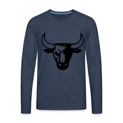 T-shirt manches longues Premium Homme - pull bleu foncé et motifs noirs.