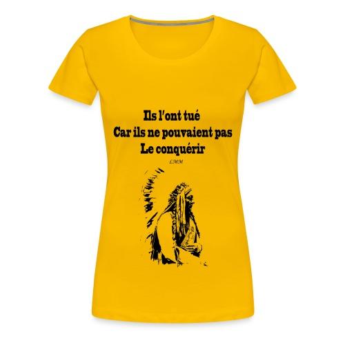 T-shirt femme jaune Crazy Horse  - T-shirt Premium Femme