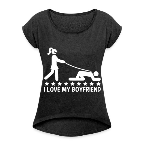 T-shirt Femme - BoyFriend - T-shirt à manches retroussées Femme