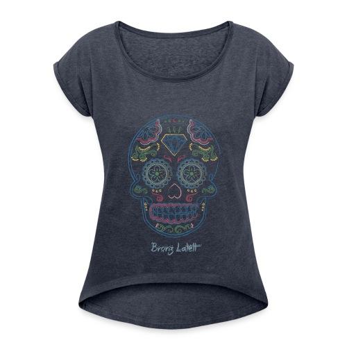 T-shirt à manches retroussées Femme - Tee shirt femme col rond Bronz Latett - Chublob model
