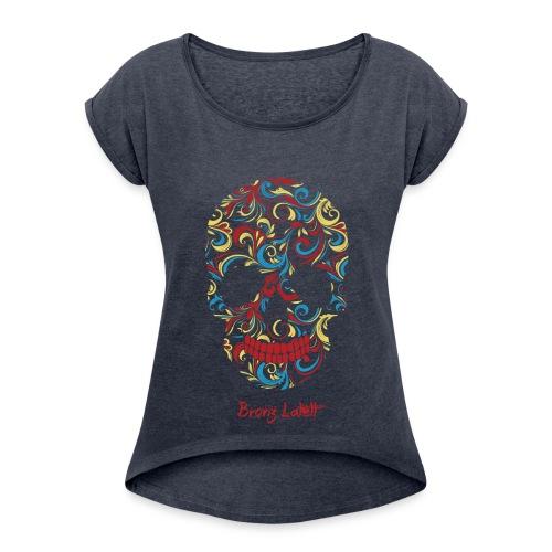 T-shirt à manches retroussées Femme - Tee shirt femme col rond Bronz Latett - Marakana model