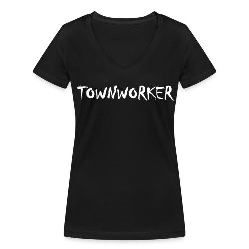 TOWNWORKER Damen-T-Shirt (weißes Logo groß) - Frauen Bio-T-Shirt mit V-Ausschnitt von Stanley & Stella
