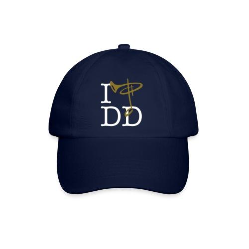 BaseCap I love DD, Folientext weiß/goldmetallic - Baseballkappe