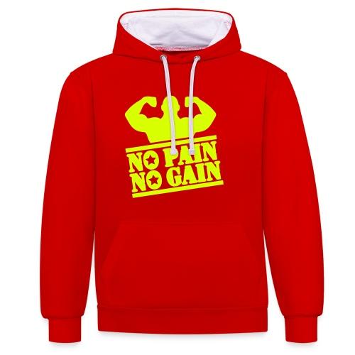 'No Pain No Gain' Men's Hoodie - Contrast Colour Hoodie