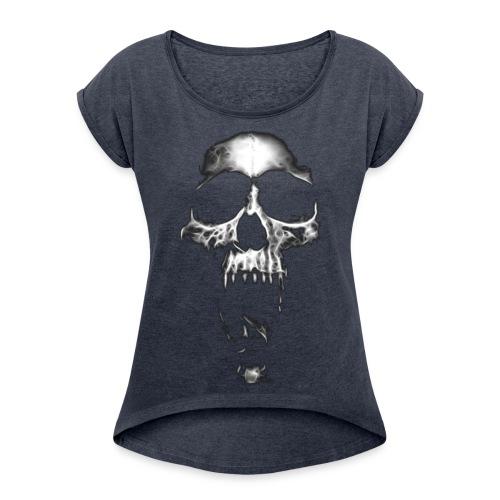 Gray Skull - Vrouwen T-shirt met opgerolde mouwen