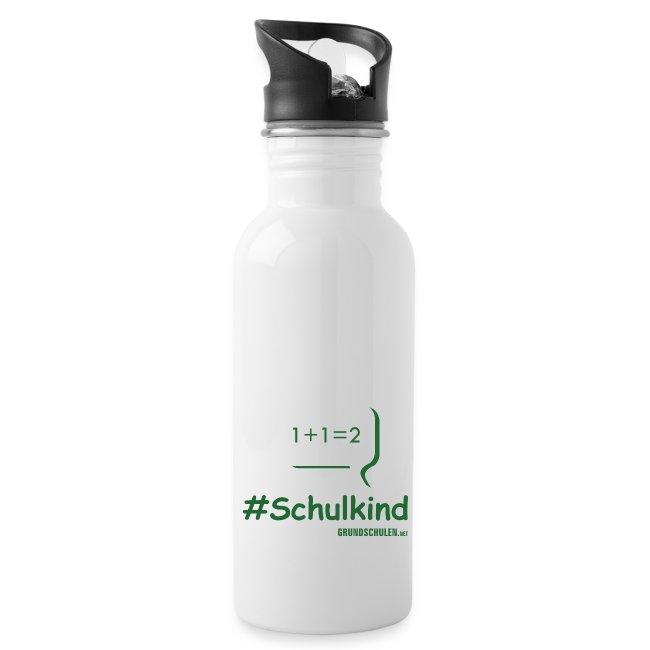 #Schulkind Trinkflasche weiß
