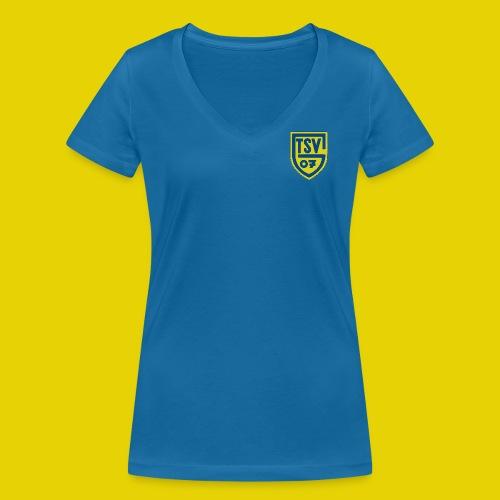 Frauen T-Shirt mit V-Ausschnitt mit farbigem Logo - Frauen Bio-T-Shirt mit V-Ausschnitt von Stanley & Stella