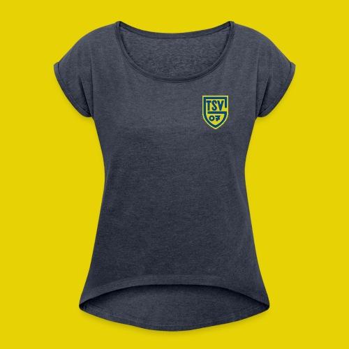 Frauen T-Shirt mit gerollten Ärmeln mit farbigem Logo - Frauen T-Shirt mit gerollten Ärmeln