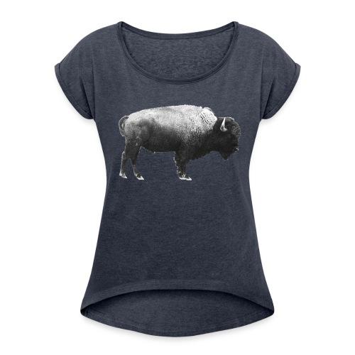 Frauenshirt Bison - Frauen T-Shirt mit gerollten Ärmeln