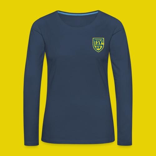 Damen T-Shirt Rundauschnitt mit farbigem logo - Frauen Premium Langarmshirt