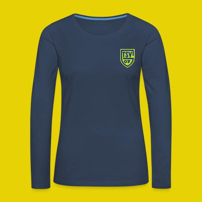 Damen T-Shirt Rundauschnitt mit farbigem logo