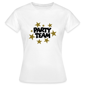 Party Team T-Shirt Schwarz/Gold (Damen) - Frauen T-Shirt