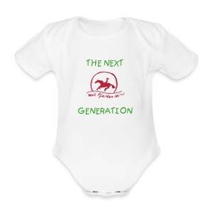 Sunsetrider and the next generation ( Print:Green / Pink - Baby Bio-Kurzarm-Body