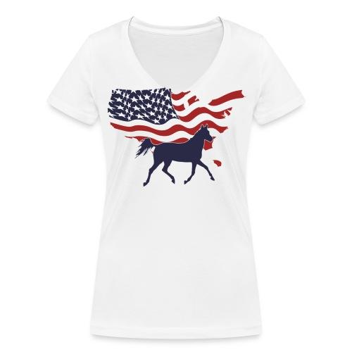 USA-Flagge-Pferd - Frauen Bio-T-Shirt mit V-Ausschnitt von Stanley & Stella