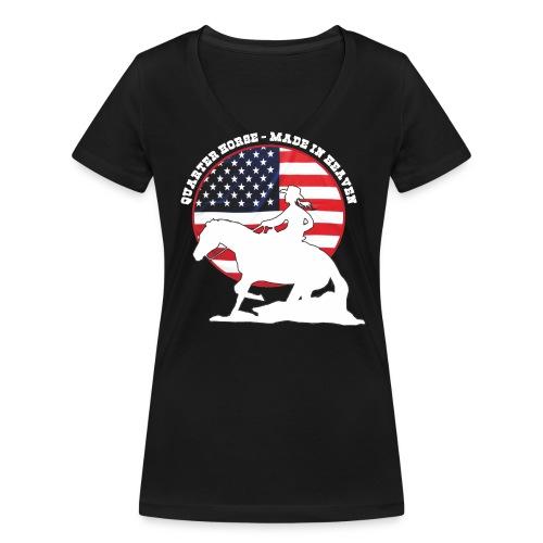 USA Westernreiterin - Frauen Bio-T-Shirt mit V-Ausschnitt von Stanley & Stella
