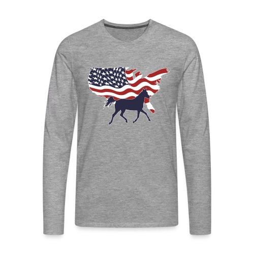 USA-Flagge-Pferd - Männer Premium Langarmshirt
