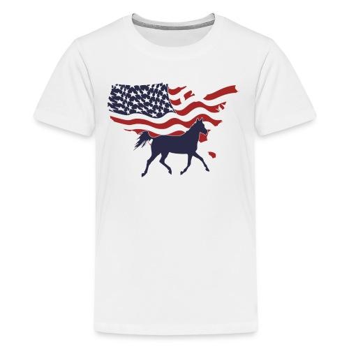 USA-Flagge-Pferd - Teenager Premium T-Shirt