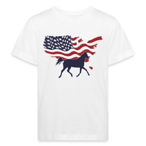 USA-Flagge-Pferd - Kinder Bio-T-Shirt