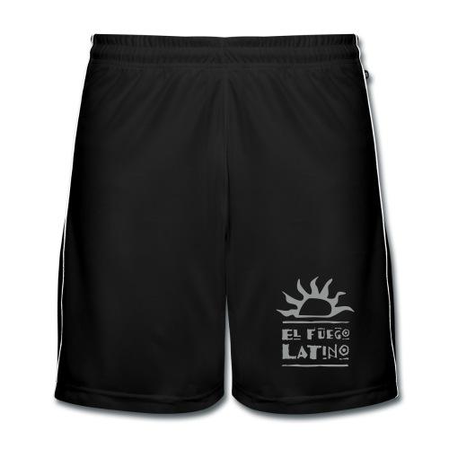 Männer Shorts schwarz mit grauem Flockdruck - Männer Fußball-Shorts