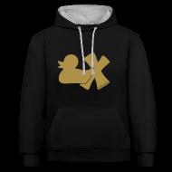 Pullover & Hoodies ~ Kontrast-Kapuzenpullover ~ Hoodie Ente mit X, gold glitzer!, vorne