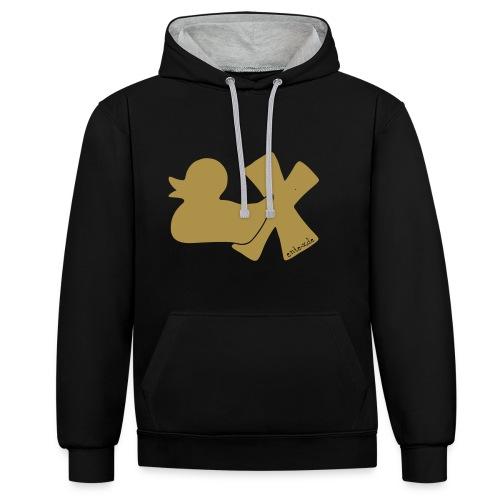 Hoodie Ente mit X, gold glitzer!, vorne - Kontrast-Hoodie