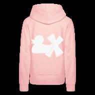 Pullover & Hoodies ~ Frauen Premium Kapuzenpullover ~ Hoodie Ente mit X, weiß glitzer!, hinten