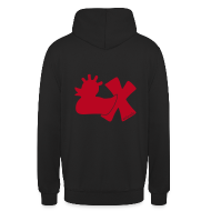 Pullover & Hoodies ~ Kapuzenpullover Unisex ~ Hoodie, Punkerente mit X, rot samtig!, hinten