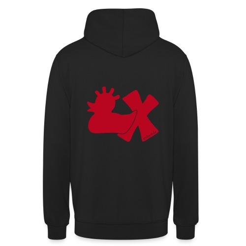 Hoodie, Punkerente mit X, rot samtig!, hinten - Unisex Hoodie