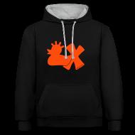 Pullover & Hoodies ~ Kontrast-Kapuzenpullover ~ Hoodie, Punkerente mit X, neonorange, vorne