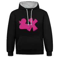 Pullover & Hoodies ~ Kontrast-Kapuzenpullover ~ Hoodie Ente mit X,  samtig!, vorne