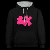 Pullover & Hoodies ~ Kontrast-Kapuzenpullover ~ Hoodie Ente mit X, neonpink, vorne