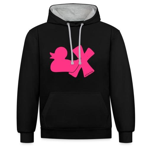 Hoodie Ente mit X, neonpink, vorne - Kontrast-Hoodie