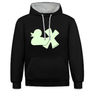 Pullover & Hoodies ~ Kontrast-Kapuzenpullover ~ Hoodie Ente mit X, phosphoriszierend!, vorne