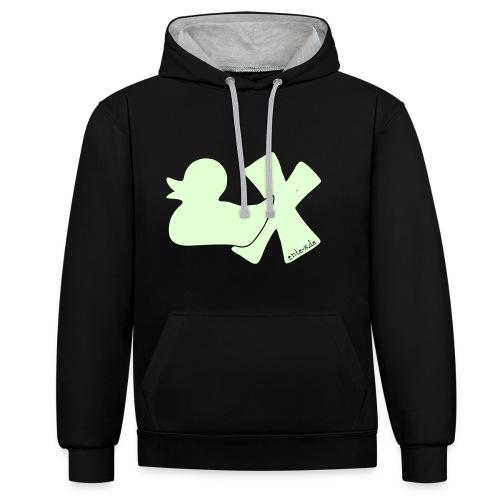 Hoodie Ente mit X, phosphoriszierend!, vorne - Kontrast-Hoodie