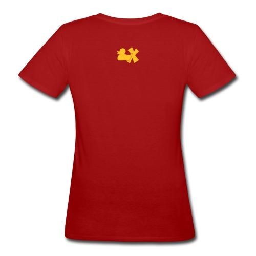 Ökotshirt mit Ente mit X, goldgelb, hinten - Frauen Bio-T-Shirt