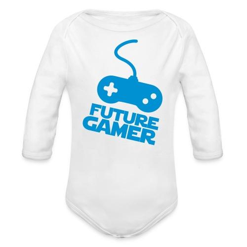 Future gamer - Langærmet babybody, økologisk bomuld