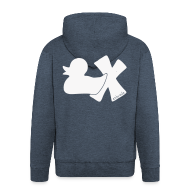 Pullover & Hoodies ~ Männer Premium Kapuzenjacke ~ Hoodie Ente mit X, weiß glitzer!, hinten