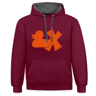 Pullover & Hoodies ~ Kontrast-Kapuzenpullover ~ Hoodie Ente mit X, orange samtig!, vorne