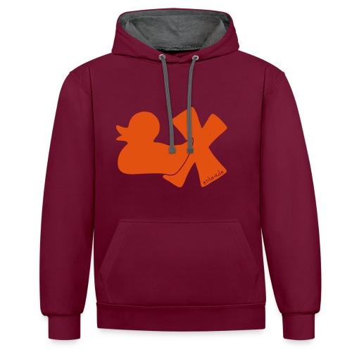 Hoodie Ente mit X, orange samtig!, vorne - Kontrast-Hoodie