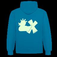 Pullover & Hoodies ~ Kontrast-Kapuzenpullover ~ Hoodie, Punkerente mit X, phosphoriszierend!, hinten