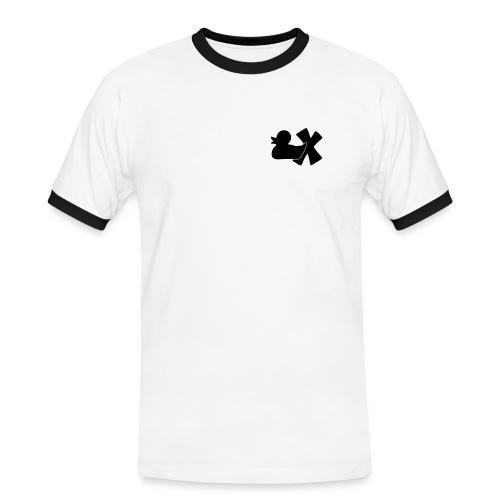 Shirt mit Ente mit X schwarz, vorne - Männer Kontrast-T-Shirt