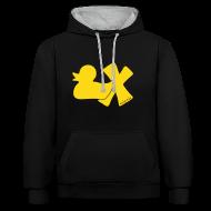 Pullover & Hoodies ~ Kontrast-Kapuzenpullover ~ Hoodie Ente mit X, gelb samtig!, vorne