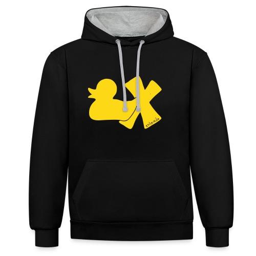 Hoodie Ente mit X, gelb samtig!, vorne - Kontrast-Hoodie