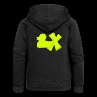 Pullover & Hoodies ~ Frauen Premium Kapuzenjacke ~ Hoodie Ente mit X, neongelb, hinten