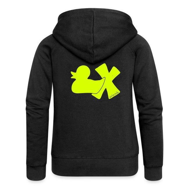 Hoodie Ente mit X, neongelb, hinten