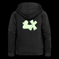 Pullover & Hoodies ~ Frauen Premium Kapuzenjacke ~ Hoodie Ente mit X, phosphoriszierend!, hinten