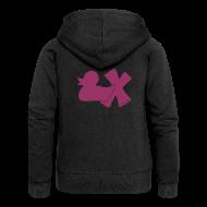 Pullover & Hoodies ~ Frauen Premium Kapuzenjacke ~ Hoodie Ente mit X, rot glitzer!, hinten