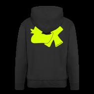 Pullover & Hoodies ~ Männer Premium Kapuzenjacke ~ Hoodie Ente mit X, neongelb, hinten